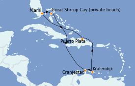 Itinéraire de la croisière Transatlantiques et Grands Voyages 2022 10 jours à bord du Norwegian Getaway