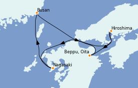 Itinéraire de la croisière Asie 6 jours à bord du