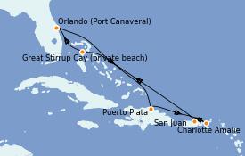 Itinéraire de la croisière Caraïbes de l'Est 8 jours à bord du Norwegian Escape