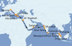 Itinéraire de la croisière Tour du Monde 2020 26 jours à bord du Costa Deliziosa