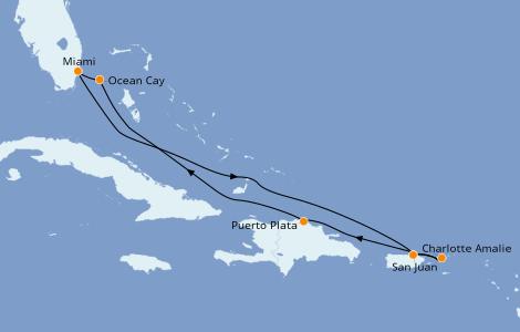 Itinéraire de la croisière Caraïbes de l'Est 7 jours à bord du MSC Seashore
