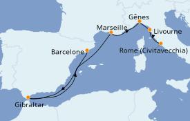 Itinéraire de la croisière Méditerranée 8 jours à bord du Crown Princess