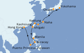 Itinéraire de la croisière Asie 15 jours à bord du ms Noordam