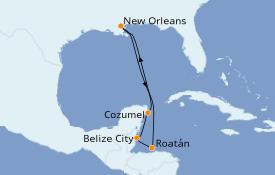Itinéraire de la croisière Caraïbes de l'Ouest 8 jours à bord du Carnival Glory