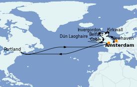 Itinéraire de la croisière Îles Britanniques 11 jours à bord du Norwegian Dawn