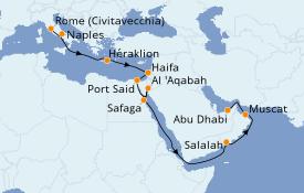 Itinéraire de la croisière Mer Rouge 21 jours à bord du Seven Seas Voyager