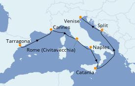 Itinéraire de la croisière Méditerranée 8 jours à bord du Rhapsody of the Seas