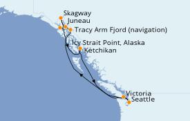 Itinéraire de la croisière Alaska 9 jours à bord du Carnival Freedom
