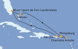 Itinéraire de la croisière Caraïbes de l'Est 9 jours à bord du Celebrity Equinox