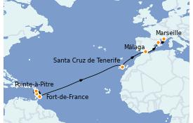 Itinerario de crucero Trasatlántico y Grande Viaje 2022 15 días a bordo del MSC Seaview