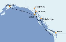 Itinéraire de la croisière Alaska 8 jours à bord du Seven Seas Mariner