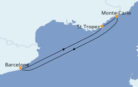 Itinéraire de la croisière Méditerranée 6 jours à bord du Azamara Quest