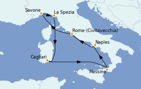 Itinéraire de la croisière Méditerranée 8 jours à bord du Costa Smeralda