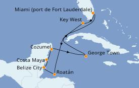 Itinéraire de la croisière Caraïbes de l'Ouest 10 jours à bord du Celebrity Apex