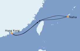 Itinéraire de la croisière Asie 6 jours à bord du Norwegian Sun