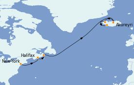 Itinéraire de la croisière Exploration polaire 12 jours à bord du Norwegian Prima