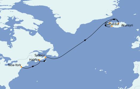 Itinéraire de la croisière Exploration polaire 11 jours à bord du Norwegian Prima
