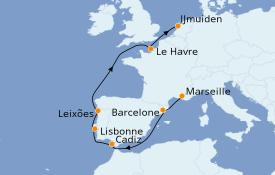 Itinéraire de la croisière Méditerranée 9 jours à bord du Costa Favolosa