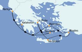 Itinéraire de la croisière Grèce & Adriatique 8 jours à bord du Norwegian Jade