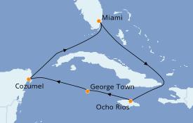 Itinéraire de la croisière Caraïbes de l'Ouest 7 jours à bord du Carnival Horizon