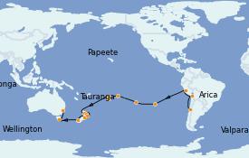 Itinéraire de la croisière Tour du Monde 2022 37 jours à bord du MSC Poesia