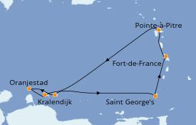 Itinéraire de la croisière Caraïbes de l'Est 8 jours à bord du Costa Fascinosa