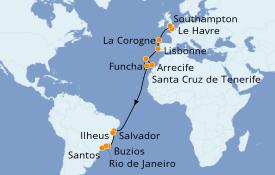Itinéraire de la croisière Transatlantiques et Grands Voyages 2020 20 jours à bord du MSC Preziosa