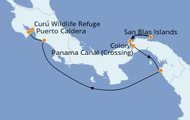Itinéraire de la croisière Riviera Mexicaine 8 jours à bord du Le Dumont d'Urville