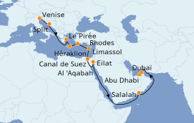 Itinéraire de la croisière Transatlantiques et Grands Voyages 2021 21 jours à bord du MSC Opera