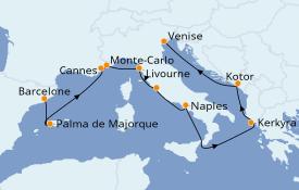 Itinéraire de la croisière Méditerranée 12 jours à bord du Norwegian Jade