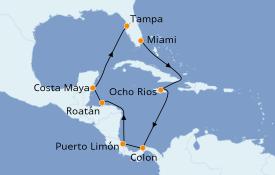 Itinéraire de la croisière Caraïbes de l'Ouest 11 jours à bord du MSC Armonia