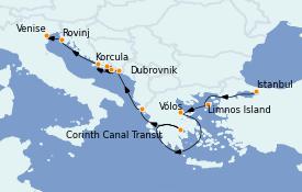Itinéraire de la croisière Grèce & Adriatique 10 jours à bord du Le Jacques Cartier
