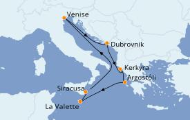Itinéraire de la croisière Méditerranée 8 jours à bord du MSC Lirica