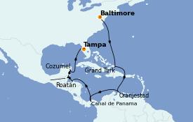 Itinéraire de la croisière Caraïbes de l'Ouest 15 jours à bord du Carnival Pride