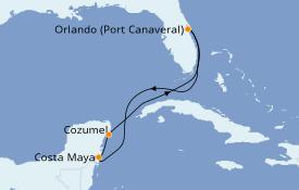 Itinéraire de la croisière Caraïbes de l'Ouest 6 jours à bord du Norwegian Sun