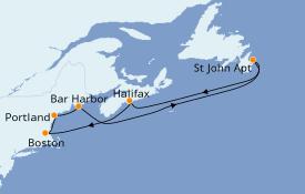 Itinéraire de la croisière Canada 8 jours à bord du Jewel of the Seas
