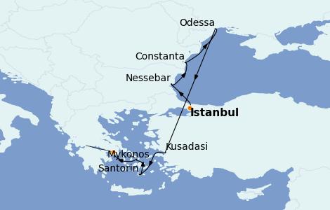 Itinéraire de la croisière Grèce & Adriatique 9 jours à bord du Nautica