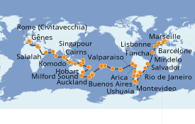Itinéraire de la croisière Tour du Monde 2020 117 jours à bord du MSC Magnifica