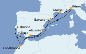 Itinéraire de la croisière Méditerranée 11 jours à bord du MSC Virtuosa