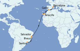 Itinéraire de la croisière Transatlantiques et Grands Voyages 2022 18 jours à bord du Costa Toscana
