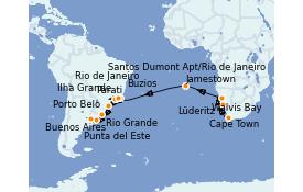 Itinéraire de la croisière Amérique du Sud 25 jours à bord du Seven Seas Voyager