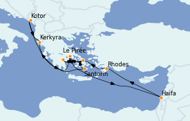 Itinéraire de la croisière Grèce & Adriatique 15 jours à bord du ms Eurodam
