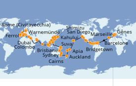 Itinéraire de la croisière Tour du Monde 2021 131 jours à bord du MSC Poesia