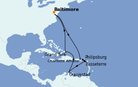 Itinéraire de la croisière Caraïbes de l'Est 15 jours à bord du Carnival Legend