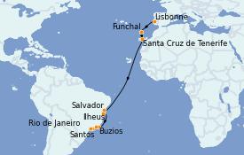 Itinéraire de la croisière Transatlantiques et Grands Voyages 2021 17 jours à bord du MSC Seaside