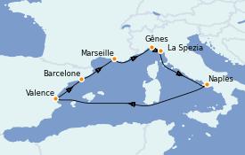 Itinéraire de la croisière Méditerranée 8 jours à bord du Costa Firenze