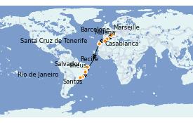 Itinéraire de la croisière Transatlantiques et Grands Voyages 2021 18 jours à bord du Costa Favolosa