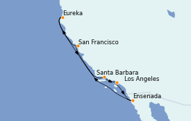 Itinerario de crucero California 9 días a bordo del MS Regatta