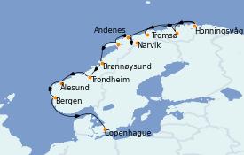 Itinéraire de la croisière Fjords & Norvège 15 jours à bord du Seabourn Venture