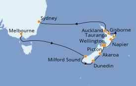 Itinéraire de la croisière Australie 2021 18 jours à bord du Azamara Pursuit
